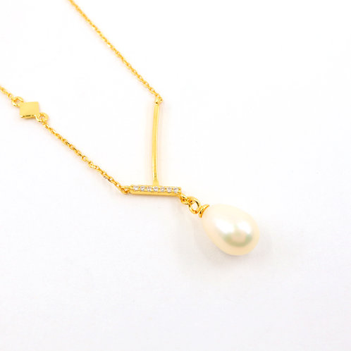 White Freshwater Pearl with CZ Stones Necklace