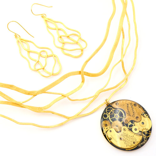 Steampunk Abstract Art Line Gold Neckwire Set