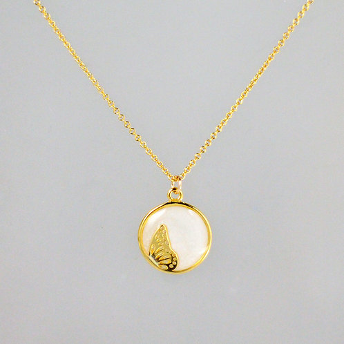 Dancing Butterfly Gold Necklace