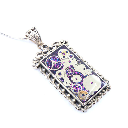 Steampunk Antique Style Rectangle Sterling Silver Necklace