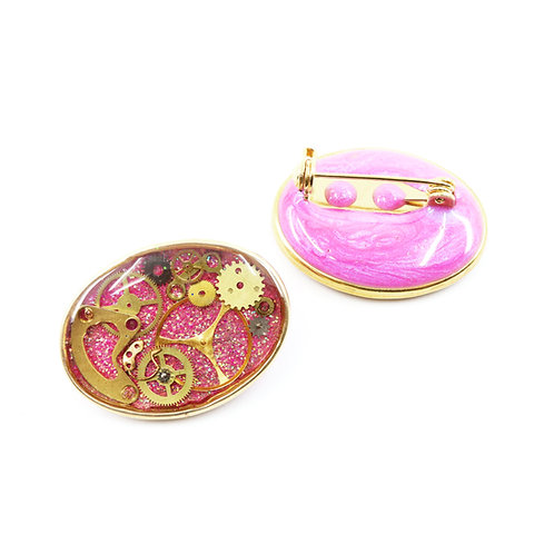 Mother & Daughter Steampunk Brooch Set - Oval