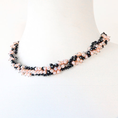 Multicolored Freshwater Pearl Cluster Necklace Set