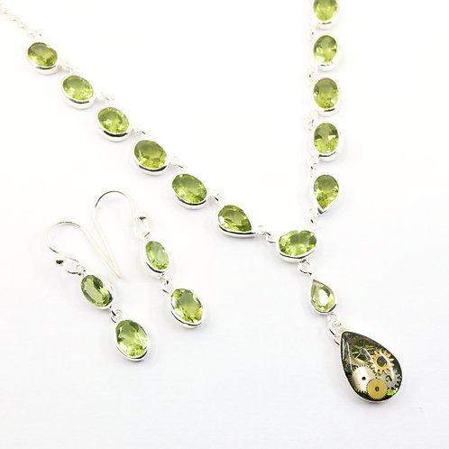 Steampunk Periot Gemstone Necklace Set