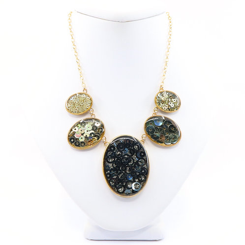 Gold Composition Statement Necklace - Large