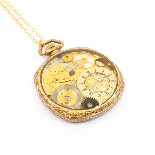 Steampunk Antique Pocket Watch Necklace - Reversible