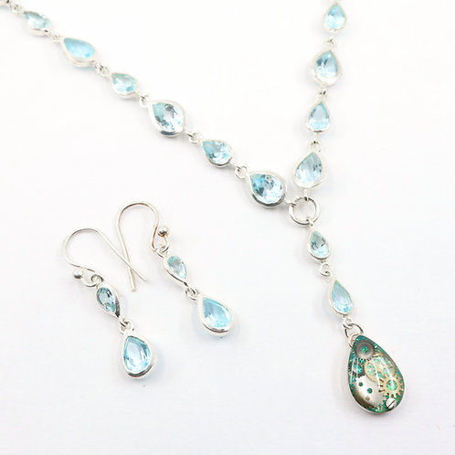 Steampunk Aquamarine Gemstone Necklace Set