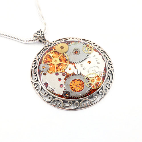 Steampunk Antique Style Circle Sterling Silver Statement Necklace