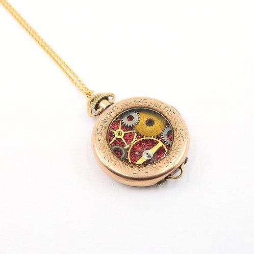 Steampunk Antique Pocket Watch Necklace - Star
