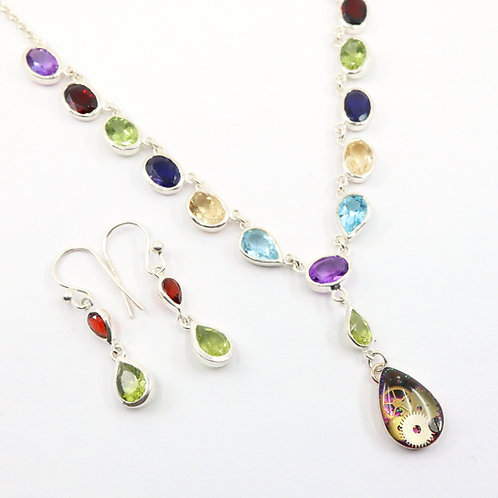 Steampunk multi-colored Gemstone Necklace Set
