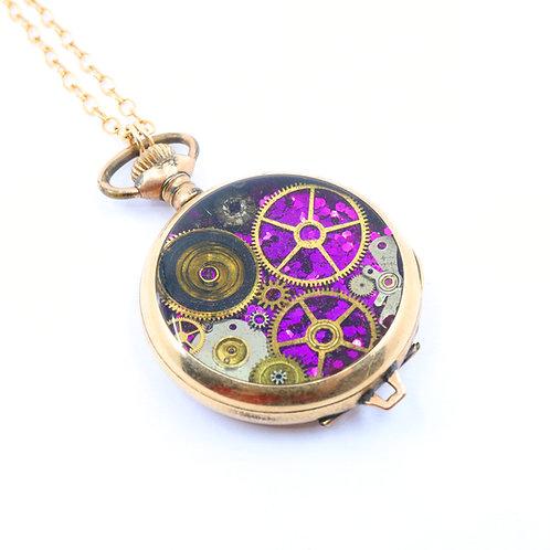 Steampunk Antique Pocket Watch Necklace