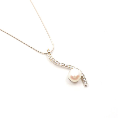 White Freshwater Pearl with S Shape CZ Stones Necklace