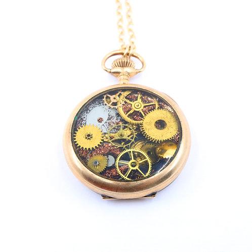Steampunk Antique Pocket Watch Necklace - Elgin