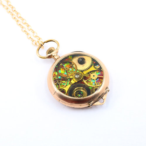 Steampunk Antique Pocket Watch Necklace - Gold