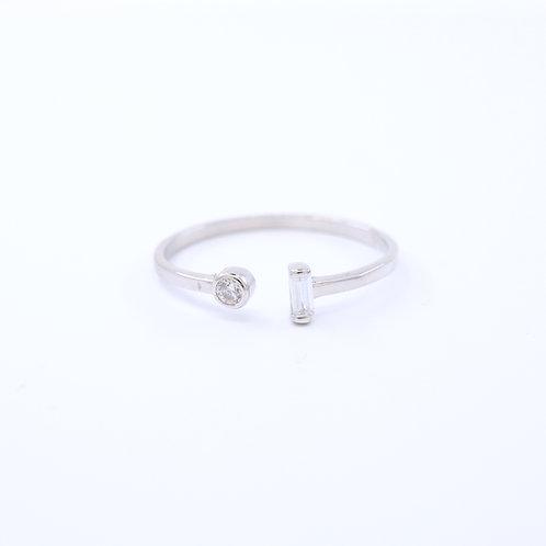 Dual Cubic Zirconia Open Ring