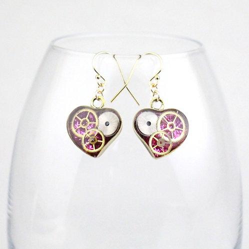 Steampunk Gold Heart Earrings