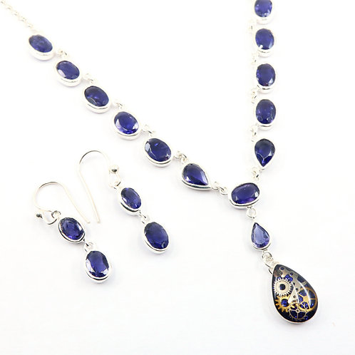 Steampunk Tanzanite Gemstone Necklace Set