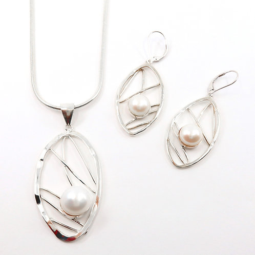 Single Freshwater Pearl Leaf Necklace Set