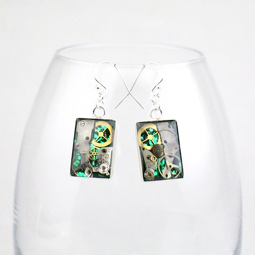 Steampunk Silver Rectangle Earrings