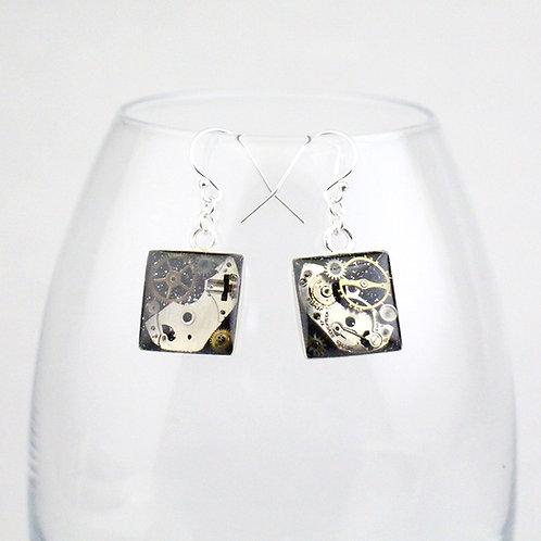 Steampunk Silver Square Earrings
