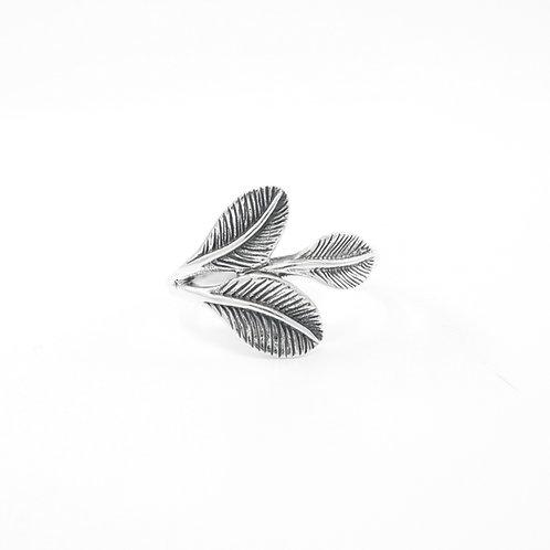 Sterling Silver Three Leaf Ring