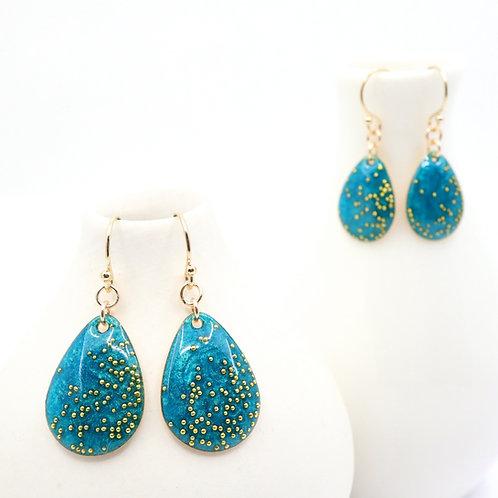 Mother & Daughter Tear Drop Earrings Set - Shimmering Green