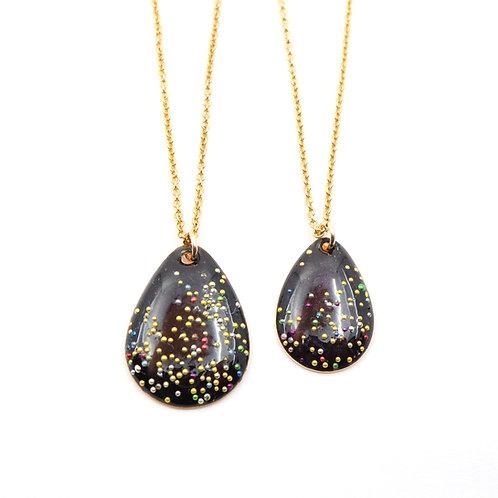 Mother & Daughter Tear Drop Necklace Set - Mars Black