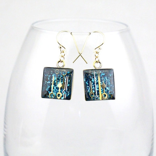 Steampunk Gold Square Earrings