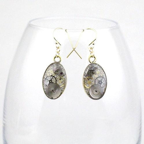 Steampunk Gold Oval Earrings