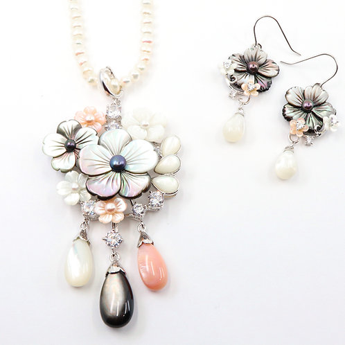 Multicolored Blossom Flowers Mother Of Pearl Set - Three Drops