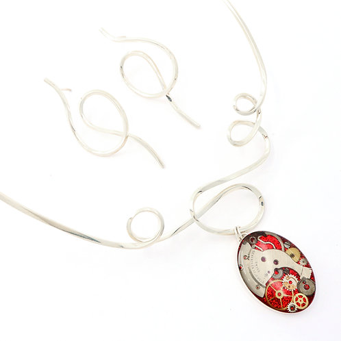 Steampunk Abstract Art Line Neckwire Set