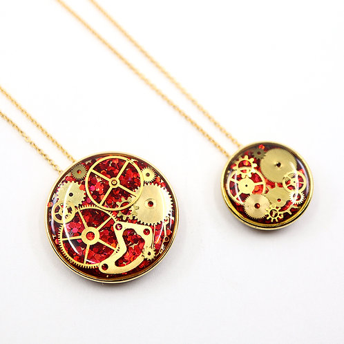 Mother & Daughter Necklace Set - Gold Round