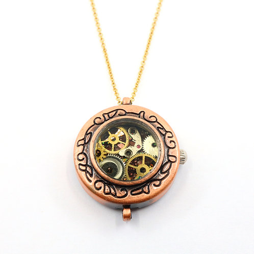Steampunk Metal Wrist Watch Case Necklace