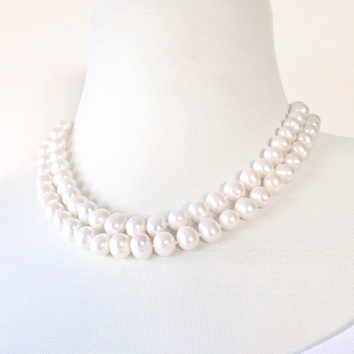 White Double Strand Freshwater Pearl Necklace
