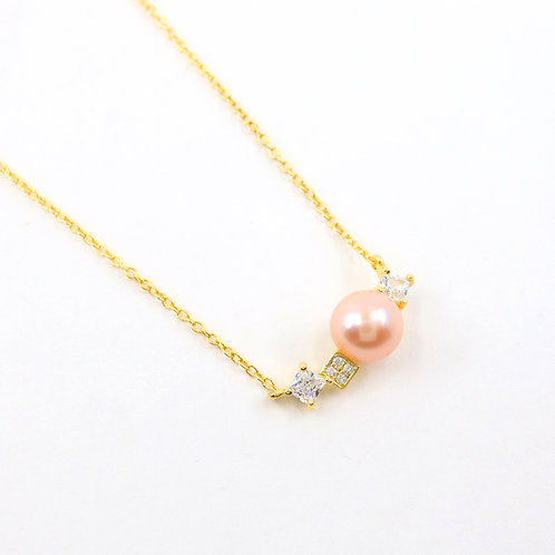 Peach Freshwater Pearl with Square CZ Stones Necklace