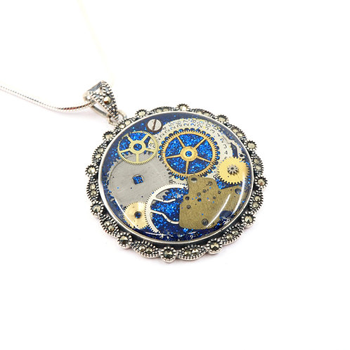 Steampunk Antique Style Circle Sterling Silver Necklace