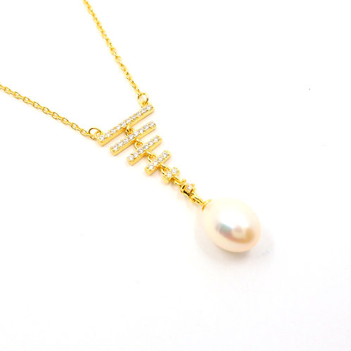 White Freshwater Pearl with CZ Stones Triangle Necklace