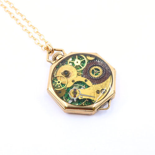 Steampunk Antique Pocket Watch Necklace - Waltham