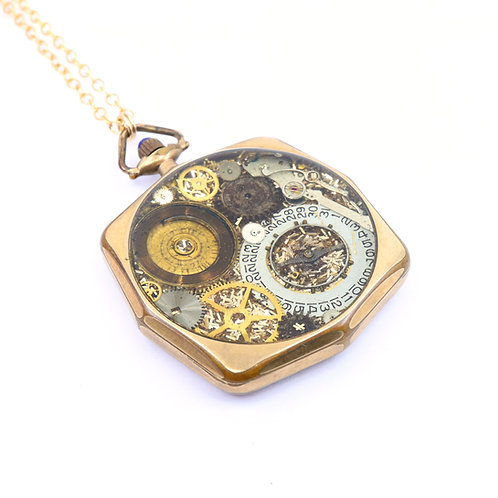 Steampunk Antique Pocket Watch Necklace - Giant