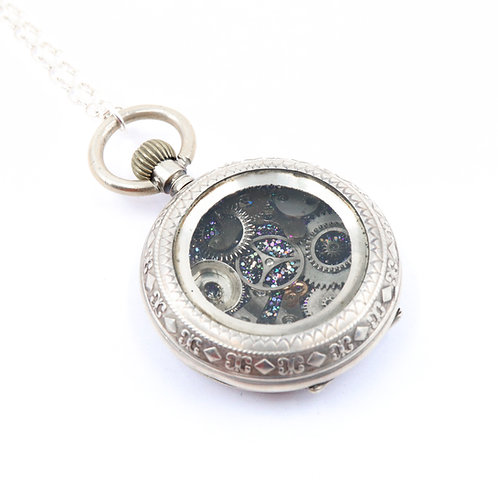 Steampunk Antique Pocket Watch Necklace - Silver