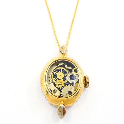 Steampunk Vintage Wrist Watch Case Necklace - Gold Tone