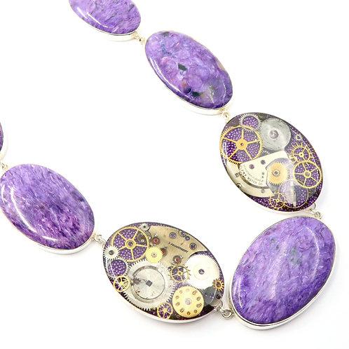 Steampunk Charoite Gemstone Necklace