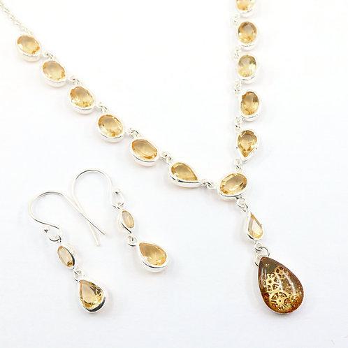 Steampunk Citrine Gemstone Necklace Set