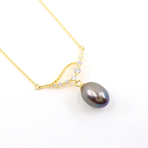 Peacock Freshwater Pearl with CZ Stones Necklace