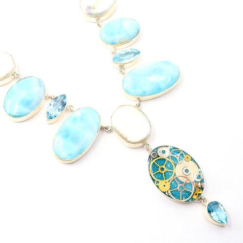 Steampunk Larimar Gemstone Necklace