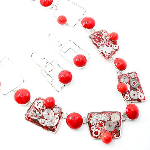 Steampunk Coral Gemstone Necklace Set