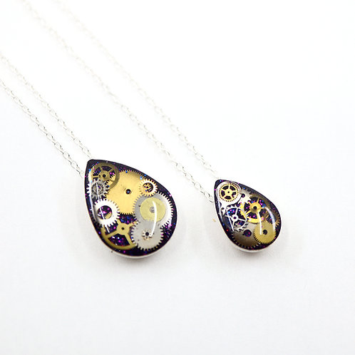Mother & Daughter Steampunk Necklace Set - Silver Tear Drop