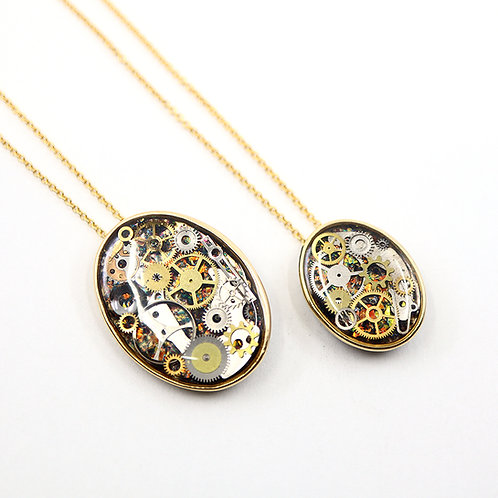 Mother & Daughter Necklace Set - Gold Oval