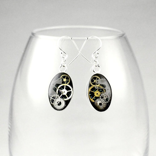 Steampunk Silver Oval Earrings