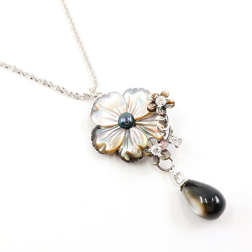 Peacock Flower Mother of Pearl Necklace