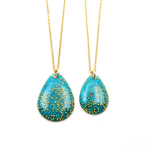 Mother & Daughter Tear Drop Necklace Set - Shimming Green